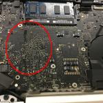 MacbookProの水没 ロジックボード、キーボード修理